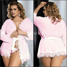 AU Plus Size Women's 3pc Sexy Sheer Eyelash Pink Robe G-string Lingerie Sz 8-22