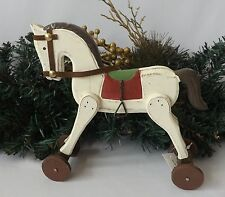 Christmas Decoration Antique White Victorian Wooden Distressed Horse on Wheels