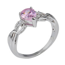 Pear Cut Pink Sapphire 10KT White Gold Filled Engagement  Wedding Ring Size 6-10