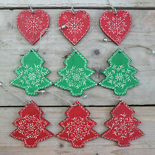Triple Christmas Tree Decorations Wooden Green Red Trees or Hearts Set 3