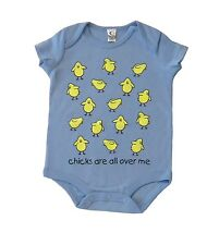 Cute Chicks All Over Me Baby blue Infant Romper one piece  3-6 6-12 12-18 months