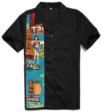 Mens Retro Bowling Shirts Plus Size Work Shirts Rockabilly Clothing