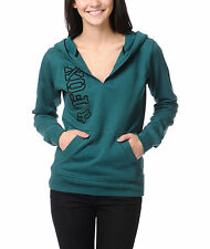 WOMEN'S/JRS FOX ON EQUIVALENT TEAL PULLOVER HOODIE FLEECE NEW $58