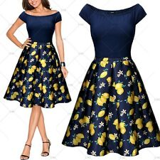 Women One Shoulder Fruits Prints Vintage Cocktail Party Casual Pleated Dresses