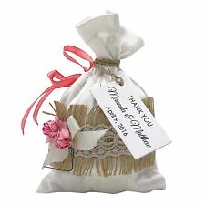 Favor Wedding Party Bag With Personalized Tags Satin Lace Drawstring Gift Pouch