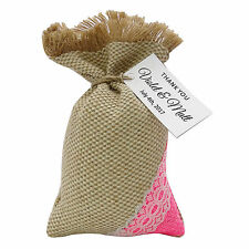 Burlap Drawstring Gift Bag Pouch Wedding Party Favor Bags With Personalized Tags