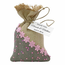 Burlap Drawstring Gift Bag Pouch Wedding Party Favor Bags With Personalized Tag
