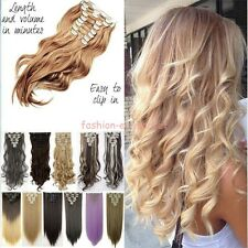 Real Thick Hair Piece Full Head Clip In Hair Extensions Ombre Straight Wavy Curl