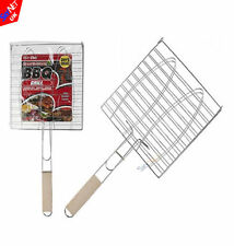 NEW Barbecue Meat Burger Fish Grill Rack With Wooden Handle BBQ GRILL