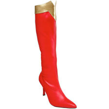 FUNTASMA Women's Red Gold Knee High Super Hero Boots WONDER-130 New In Box
