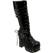 DEMONIA CHARADE 206 Women Goth Punk Lolita Knee High Boots Corset D Ring Lace Up