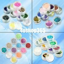 12 X GLITTER NAIL ART DUST DECORATION SPARKLE POWDER TIP HEXAGON STICKERS SLICE