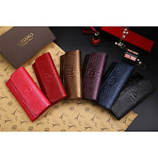Womens Embossed Bifold Long Wallet Cow Leather Crocodile Stria Alligator bags