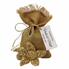 Drawstring Gift Bag  Jute Pouch Wedding Rustic Favor Bags With Personalized Tag