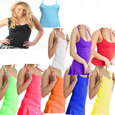 Bright Neon Colours Ladies Vest Microfiber Gym Dance Running Fancy Dress 8-16 UK