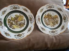 """2 Vintage ceramic porcelain Ascot service plates by Wood and Sons England 10.5"""""""