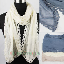 Stylish Vintage Cotton Comfortable Long Scarf Shawl With Floral Lace Trim Tassel