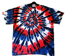 Hand-dyed Tie Dye Hand-dyed T-shirt RED WHITE & BLUE SPINNER SIZE L & XL