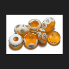 Handmade Glass Lampwork Beads Amber Silvered Pure Fine Silver 412160135831
