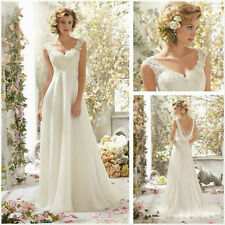 New White ivory Lace Bridal Gown beach Wedding Dress Stock Size 6 8 10 12 14 16