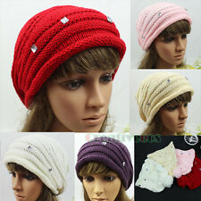 Women's Winter Ski Cap Knit Warm Hat Rhonestone Baggy Cute Beanies Big PomPom