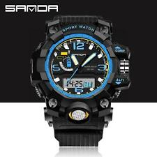 Mens Stainless Steel LED Digital Date Unique Sports Military Quartz Wrist Watch
