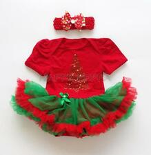 Christmas Costume Baby Girls Romper Tutu Dress Headband Outfit Bodysuit Clothes