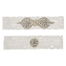 2pcs Wedding Bridal Garter Set Lace Garter Rhinestone Pearl 1 to Keep 1 to Throw