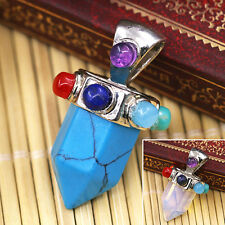 Men Women Hexagonal Opal Blue Turquoise Pendant for Necklace Jewelry Trendy