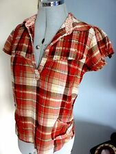 *SALE* S8 Red Check Frill Indie Bead Print 70s Vintage Style Tunic Festival Top