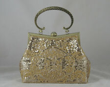 Champagne Beaded Sequined Designer Evening Party Handbag Purse Or Casual