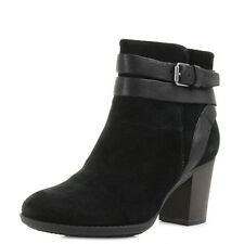 Womens Clarks Enfield River Black Suede Heeled Ankle Boots Size