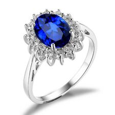 2.5ct Blue Sapphire Engagement Wedding Ring Set 925 Sterling Silver