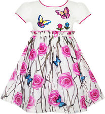 Girls Dress Rose Flower Butterfly Princess Birthday Party Dress Age 4-10 Years