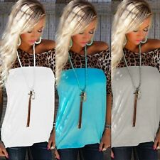 Sexy Womens Short Sleeve Loose T Shirt Summer Casual Leopard Print Tops Blouse W