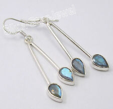 925 Silver Trendy Fashion Earrings LABRADORITE & More Real Gemstones To Choose