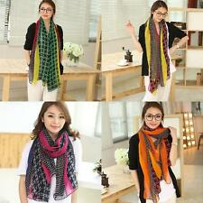 Womens Elegant Colorful Grid Printed Voile Scarf Long Shawl Wrap Hot Sale