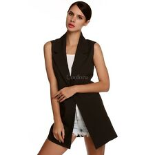 Ladies Casual Sleeveless Lapel Pocket Vest Coat Long Jacket Waistcoat CO99