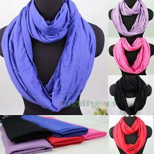 Fashion Women Solid Color Cotton Infinity Circle Loop Plain Scarf Ladies Scarves