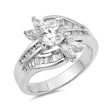 Sterling Silver .925 Baguette Clear CZ Engagement Wedding Ring Size 6 7 8 9