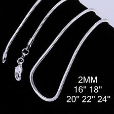 """Silver Plated Snake Chain Necklace Fit for Pendant 2mm 16"""" -24"""" 10pcs Bulk Lots"""