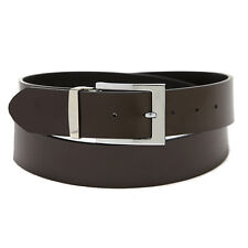 Men's Belt Reversible Extra Wide Bonded Leather Silver-Tone Buckle BROWN / Black
