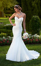 Luxury Sweetheart White Mermaid Wedding Dress Bridal Gown Prom Evening Ball DEB