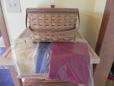Longaberger ~ Hostess Two Pie Basket Combo W/ Lid , Riser , Protector & 3 Liners