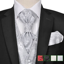 Men's Paisley Wedding Party Prom Cruise Waistcoat &Tie Set Suit Multi Choice