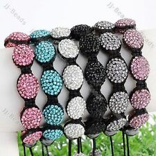 1pc Polymer Clay Crystal Oval Beads Macrame Woven Bracelet Ladies Jewelry
