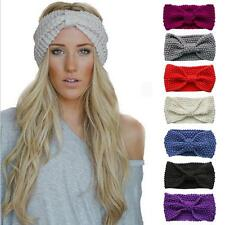 1PC Fashion Women Bow Flower Knit Wool Hairband Headband Crochet Winter Warmer