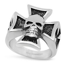 22mm Stainless Steel Skull with Iron Cross Ring