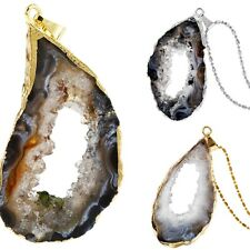 Natural Drusy Agate Quartz Geode Crystal Silver/Gold Plated Pendant Fit Necklace