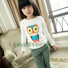 Fashion Kids Toddlers Boys Girls Colorful Owl Printed Cotton Tee Tops T-Shirt